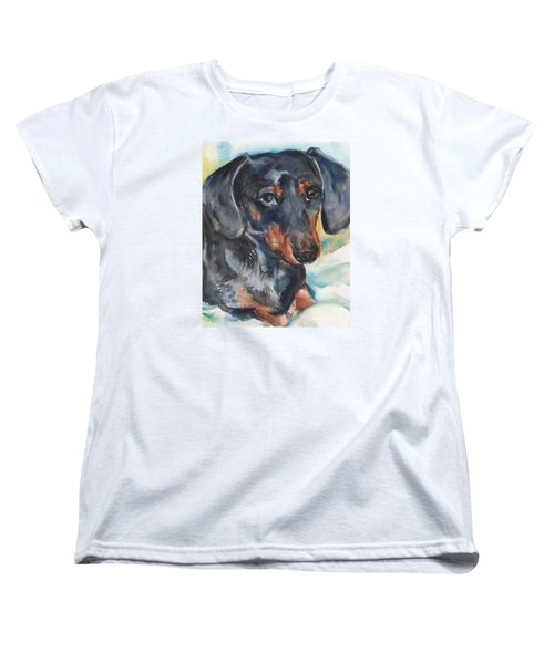 Dachshund Portrait In Watercolor Women's T-Shirt (Standard Cut) by Maria's Watercolor