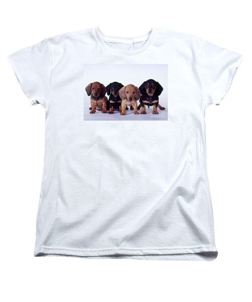 Dachshund Puppies  Women's T-Shirt (Standard Cut) by Carolyn McKeone and Photo Researchers