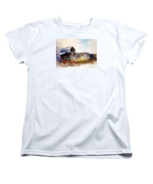 Women's T-Shirt (Standard Cut) featuring the painting Dad' Farmhouse by Allison Ashton