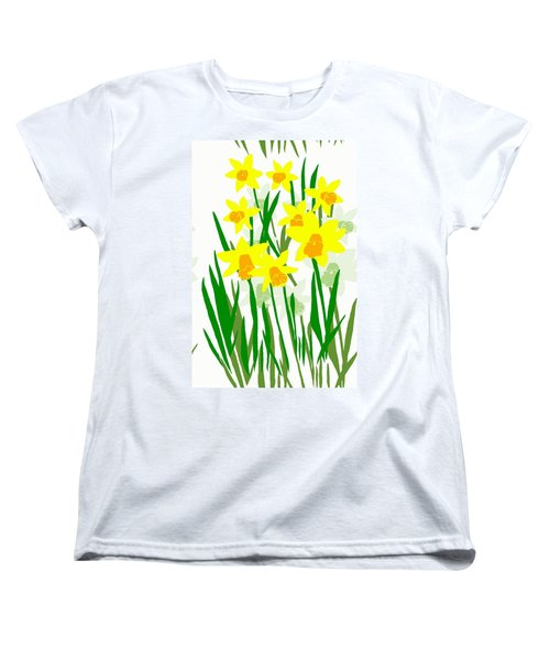 Women's T-Shirt (Standard Cut) featuring the digital art Daffodils Drawing by Barbara Moignard