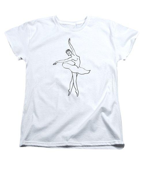 Dancing Ballerina Silhouette Women's T-Shirt (Standard Cut) by Irina Sztukowski