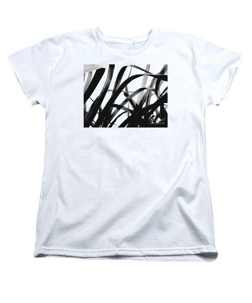 Dancing Bamboo Black And White Women's T-Shirt (Standard Cut) by Rebecca Harman
