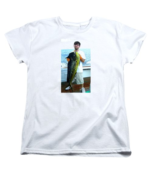 Danny Caught A Huge Dolphin Fish Women's T-Shirt (Standard Cut) by Merton Allen