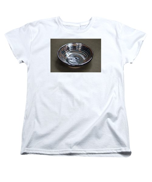 Dark Brown And Red Ceramic Bowl Women's T-Shirt (Standard Cut) by Suzanne Gaff