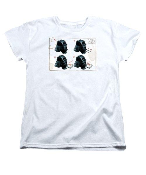 Darth Vader Tea Drinking Star Wars Women's T-Shirt (Standard Cut) by Martin Davey