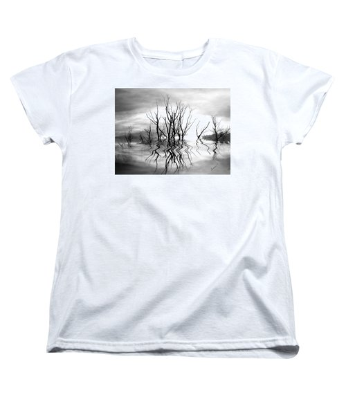 Women's T-Shirt (Standard Cut) featuring the photograph Dead Trees Bw by Susan Kinney