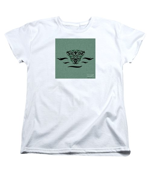 Women's T-Shirt (Standard Cut) featuring the digital art Deep Green Tribal Gator by Megan Dirsa-DuBois