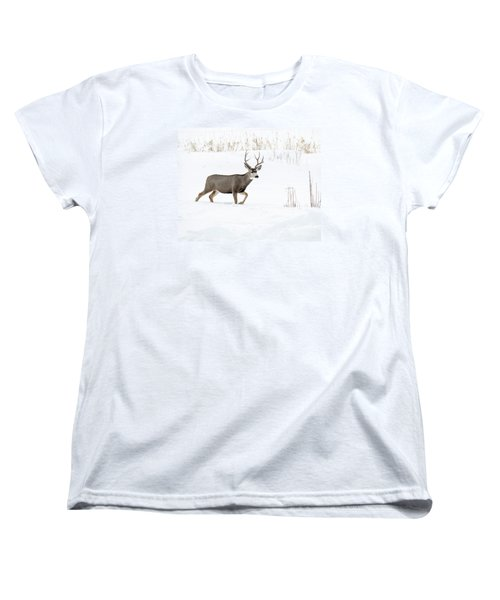 Women's T-Shirt (Standard Cut) featuring the photograph Deer In The Snow by Rebecca Margraf