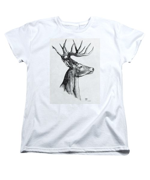 Women's T-Shirt (Standard Cut) featuring the drawing Deer by Michael  TMAD Finney