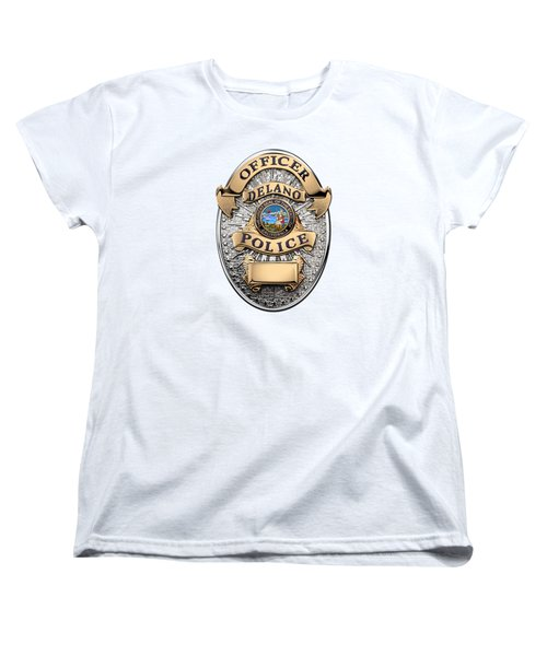 Women's T-Shirt (Standard Cut) featuring the digital art Delano Police Department - Officer Badge Over White Leather by Serge Averbukh