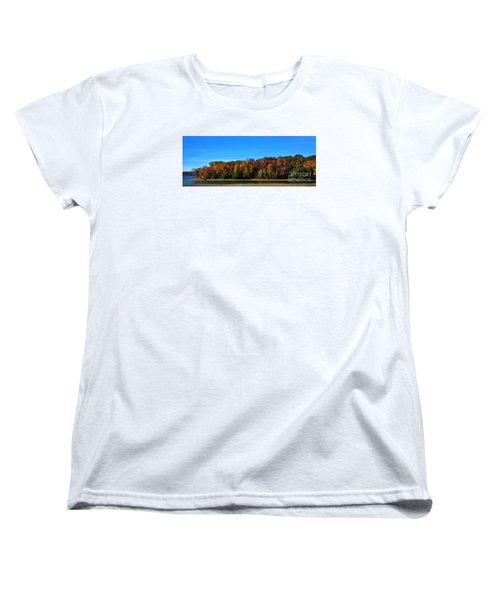 Women's T-Shirt (Standard Cut) featuring the photograph Delta Lake State Park Foliage by Diane E Berry