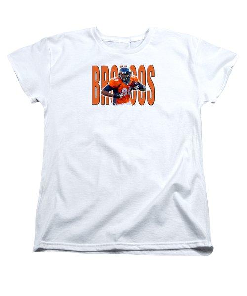 Women's T-Shirt (Standard Cut) featuring the digital art Denver Broncos by Stephen Younts