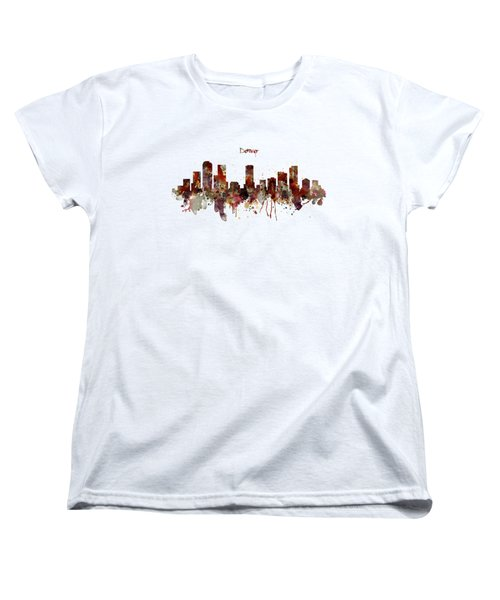 Women's T-Shirt (Standard Cut) featuring the mixed media Denver Skyline Silhouette by Marian Voicu