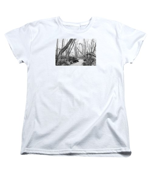 Destruction In Black And White Women's T-Shirt (Standard Cut) by Joni Eskridge