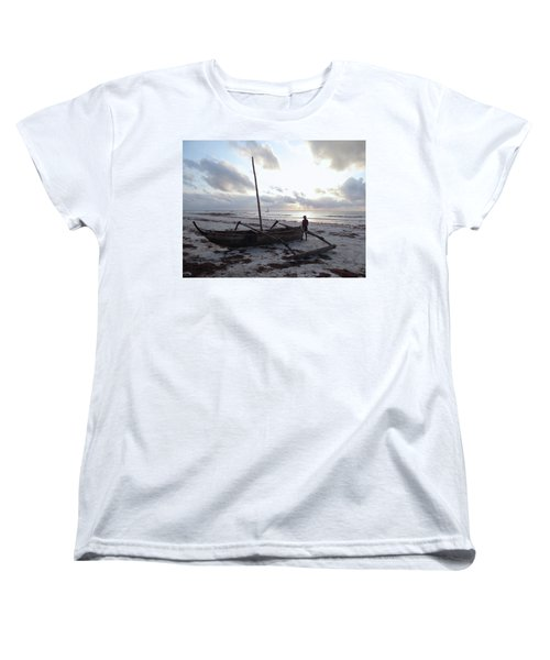 Dhow Wooden Boats At Sunrise With Fisherman Women's T-Shirt (Standard Fit)