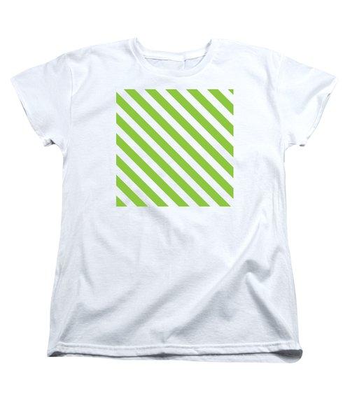 Diagonal Green Stripes Women's T-Shirt (Standard Fit)