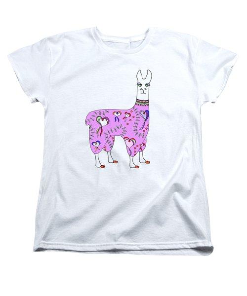 Difficult Llama Lavender Women's T-Shirt (Standard Cut) by Sarah Rosedahl