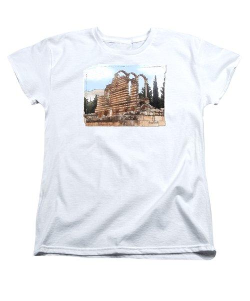 Women's T-Shirt (Standard Cut) featuring the photograph Do-00302 Ruins In Anjar by Digital Oil
