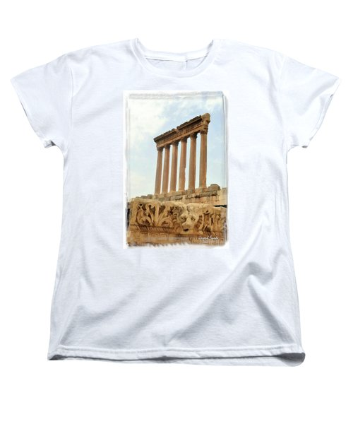 Women's T-Shirt (Standard Cut) featuring the photograph Do-00314 The 6 Corinthian Columns In Baalbeck by Digital Oil