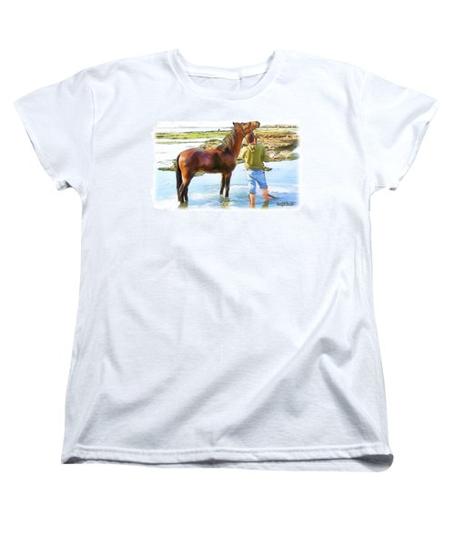 Women's T-Shirt (Standard Cut) featuring the photograph Do-00421 Washing Horse In Mina by Digital Oil