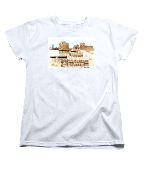 Women's T-Shirt (Standard Cut) featuring the photograph Do-00423 Citadel Of Sidon by Digital Oil