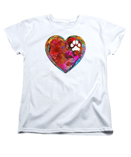 Dog Art - Puppy Love 2 - Sharon Cummings Women's T-Shirt (Standard Cut) by Sharon Cummings