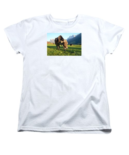 Dolomites Mountain Cow Close-up Women's T-Shirt (Standard Cut) by IPics Photography