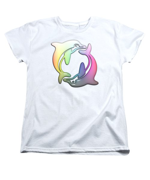 Dolphin Dance Soft Rainbow Drops Women's T-Shirt (Standard Cut) by Di Designs