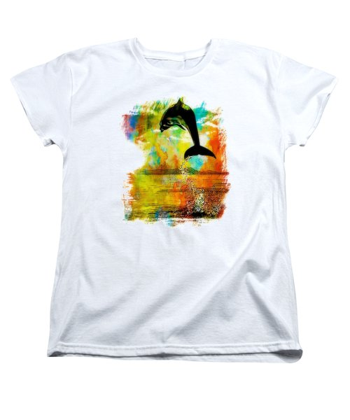 Dolphin Sunset Women's T-Shirt (Standard Cut) by Kevin Moore