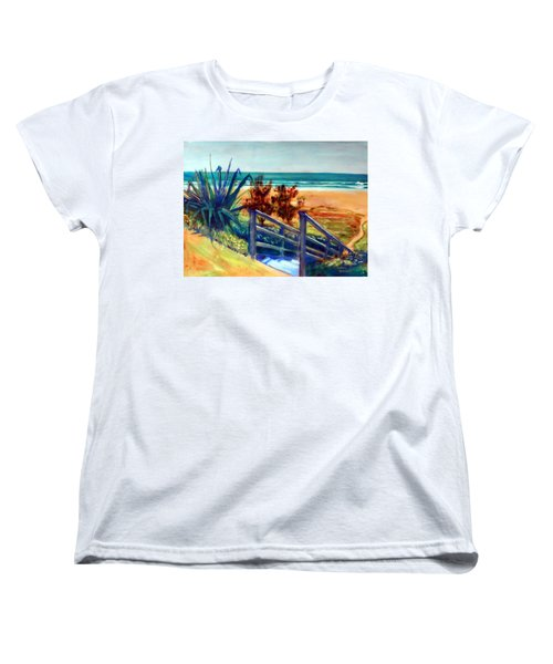 Down The Stairs To The Beach Women's T-Shirt (Standard Cut) by Winsome Gunning