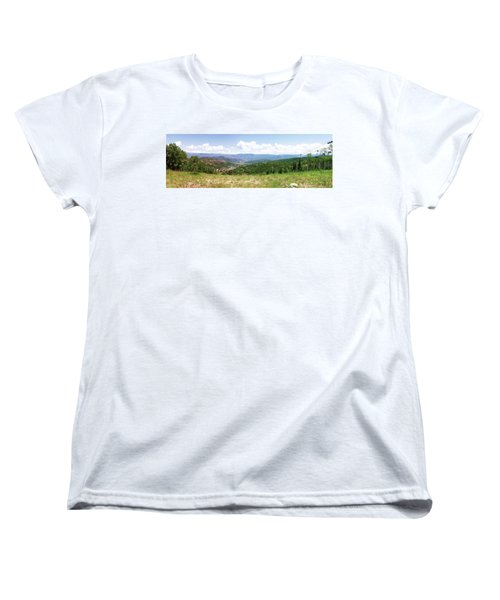 Women's T-Shirt (Standard Cut) featuring the photograph Down The Valley At Snowmass #2 by Jerry Battle