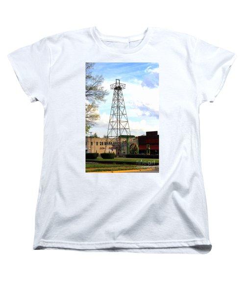 Downtown Gladewater Oil Derrick Women's T-Shirt (Standard Cut) by Kathy  White