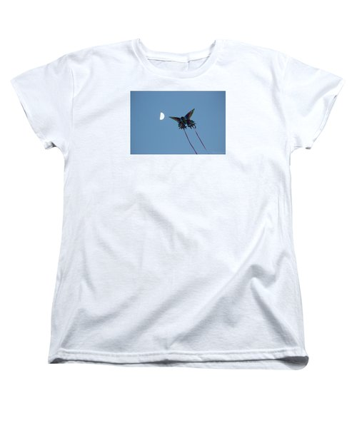 Women's T-Shirt (Standard Cut) featuring the photograph Dragonfly Chasing The Moon by Robert Banach