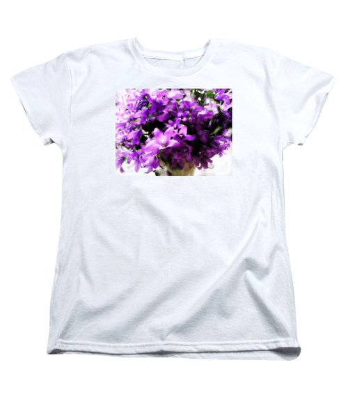 Women's T-Shirt (Standard Cut) featuring the mixed media Dreamy Flowers by Gabriella Weninger - David