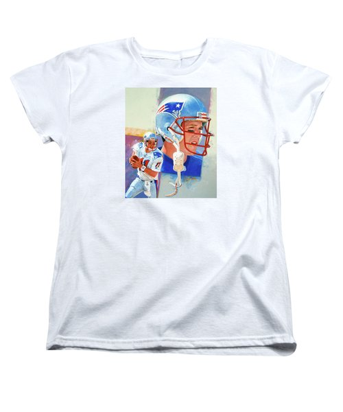 Women's T-Shirt (Standard Cut) featuring the painting Drew Bledsoe by Cliff Spohn
