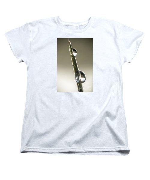 Women's T-Shirt (Standard Cut) featuring the photograph Drops On Green Grass by Odon Czintos