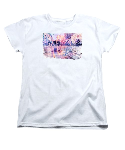 Dublin Watercolor Streetscape Women's T-Shirt (Standard Fit)