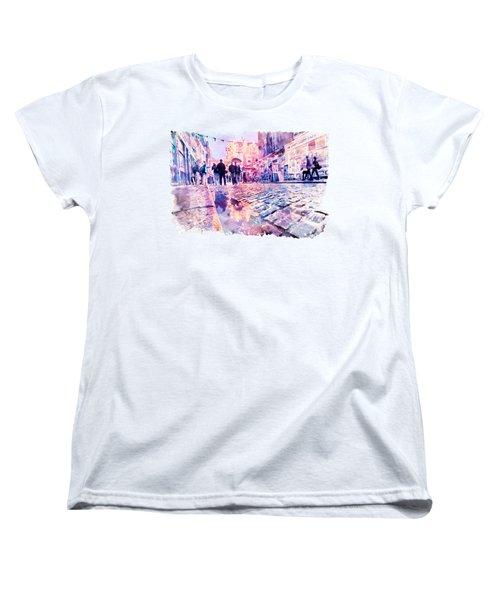 Dublin Watercolor Streetscape Women's T-Shirt (Standard Fit)