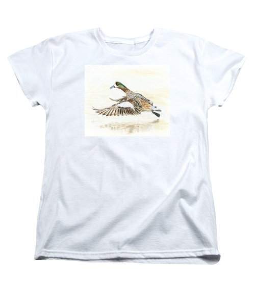 Women's T-Shirt (Standard Cut) featuring the painting Duck Taking Off. by Raffaella Lunelli