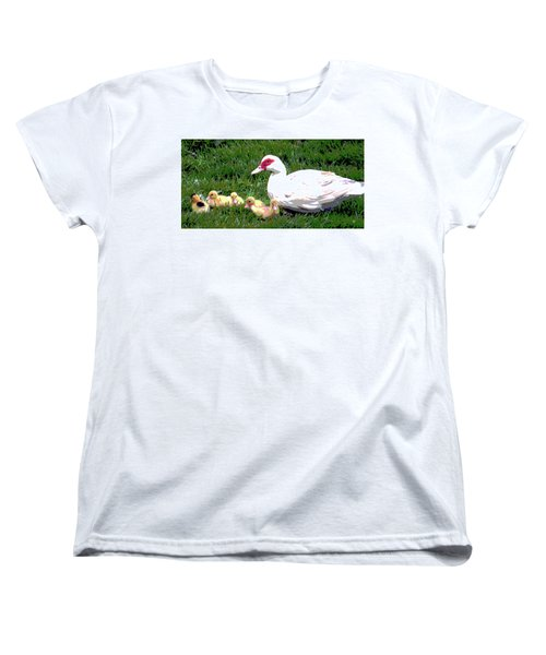 Women's T-Shirt (Standard Cut) featuring the mixed media Ducks by Charles Shoup