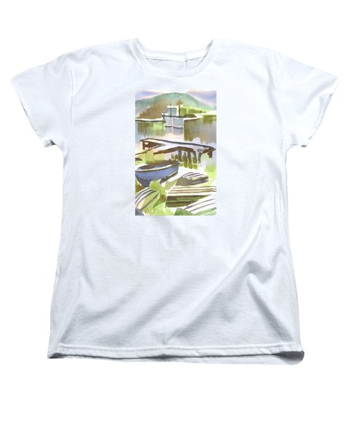 Women's T-Shirt (Standard Cut) featuring the painting Dusk At The Boat Dock by Kip DeVore