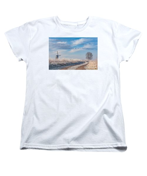 Dutch Windmill In Winter Women's T-Shirt (Standard Cut)