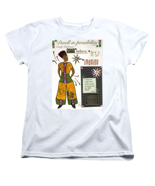 Women's T-Shirt (Standard Cut) featuring the mixed media Dwell In Possibility by Angela L Walker
