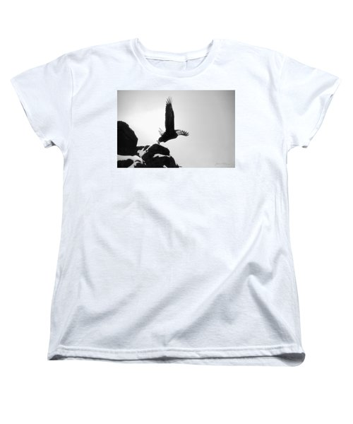 Women's T-Shirt (Standard Cut) featuring the photograph Eagle Takeoff At Adak, Alaska by John A Rodriguez