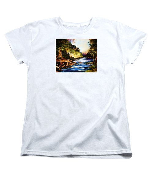 Women's T-Shirt (Standard Cut) featuring the painting Early Dawn Campfire by Al Brown
