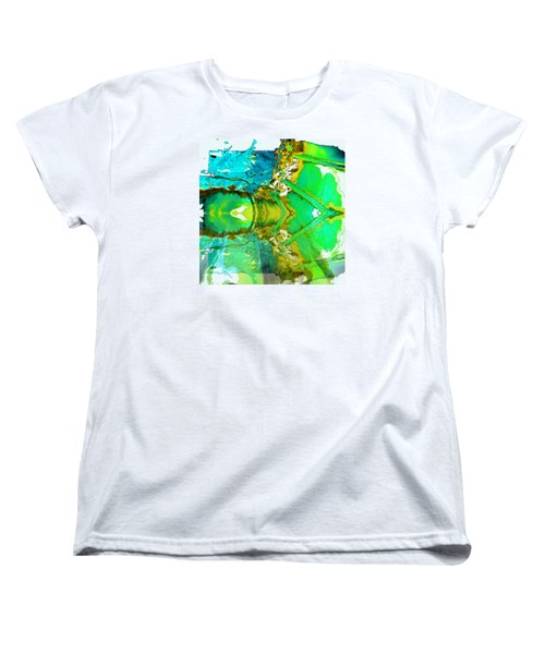Women's T-Shirt (Standard Cut) featuring the painting Earth Water Sky Abstract by Carolyn Repka