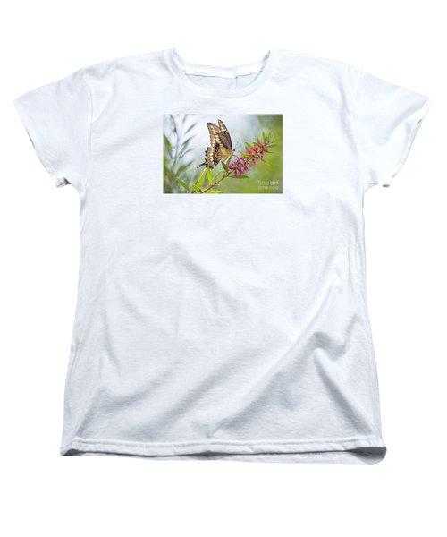 Eastern Tiger Swallowtail Butterfly On Bottlebrush Women's T-Shirt (Standard Cut) by Bonnie Barry