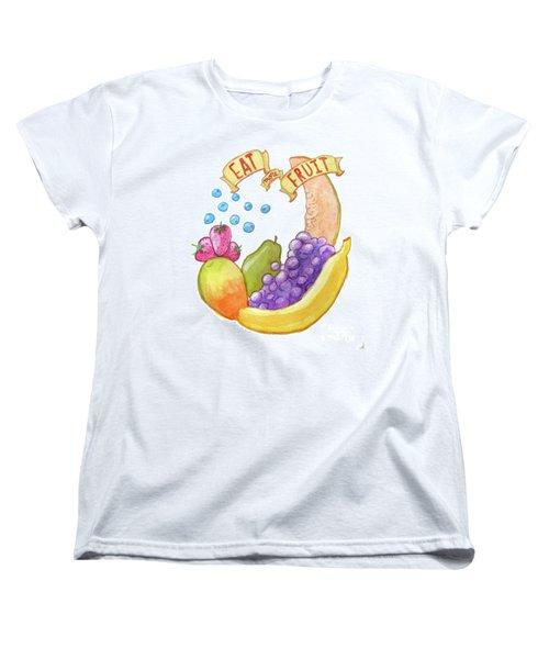 Eat More Fruit Women's T-Shirt (Standard Cut) by Whitney Morton