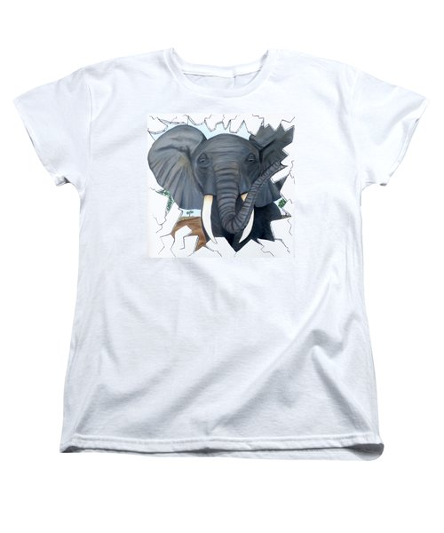 Eavesdropping Elephant Women's T-Shirt (Standard Cut) by Teresa Wing