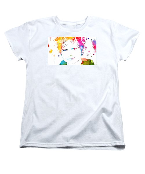 Ed Sheeran Paint Splatter Women's T-Shirt (Standard Cut) by Dan Sproul